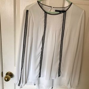 Women's White Blouse with Black Detail